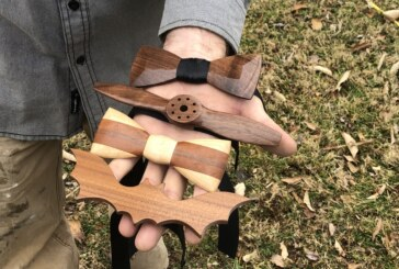 Local artisan fashions wooden bowties